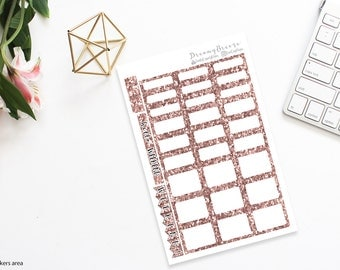 Rose Gold Glitter | Half boxes & Labels | Printable Planner Stickers | Happy Planner