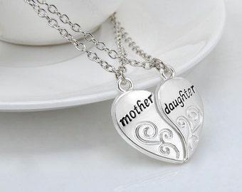 2PCS / SET Mother & Daughter Silver Love Heart Pendant Necklaces
