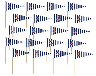 Pack Of 3 Dozen Striped Nautical Flag Food Picks Use For Appetizers, Burgers, Cupcakes & More!