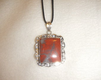 Red & Gray Jasper pendant necklace set in .925 sterling silver (P290)