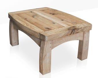 Handcrafted Solid Green Oak Coffee Table