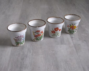 Vintage Floral Flower Pots - Set of Four - Made in Japan
