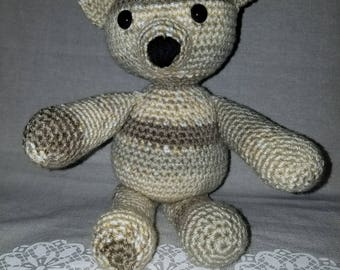 Handmade Brown Striped Amigurumi Bear