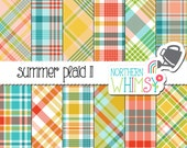 Summer Plaid Digital Paper - red, yellow, pink, green, and blue tartan scrapbook paper with diagonal plaid & seamless plaid - commercial use