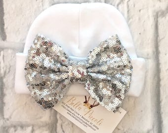 Newborn Hats, Sequin Bow Newborn Hats, Newborn Girl Hats, Sequin Baby Hats, Sequin Bow Hats, Baby Girl Hats, Baby Hats