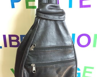 Black Leather backpack with Zipper Strap