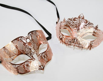 Classic Rose Gold Couples Mask Set, Venetian Masquerade Mask, Phantom of the Opera Inspired, Mardi Gras, Wedding, Prom BD005RG+K2001RG
