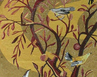 Autumn Tree with Birds Glass Mosaic Mural