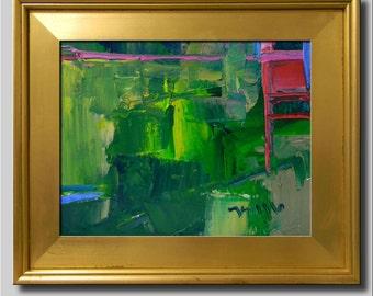 Plein Air Landscape Painting, Impressionist Oil, Abstract Painting, Green Painting, Red Painting, Yellow Painting, Abstract Painting