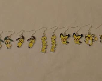 Free Shipping Pokemon Earrings, Minun Earrings, Plusle Earrings, Pichu Earrings, Raichu Earrings