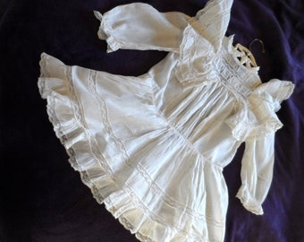 SALE Vintage 1920's-1930's Infant Dress* Ruffles . Lace . Off White . Sheer Cotton . Delicate . Baby Girls . Photo Shoot . Retro . Rare