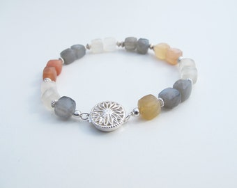 Moonstone Square Bead and Silver Bracelet