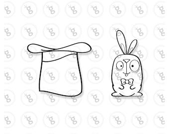 """""""rabbit with top has"""" Digi stamp"""