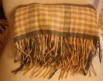Vintage Plaid Throw, St. Marys, Plaid Blanket with Fringe, Beige and Gray Plaid, Stadium Blanket, Sports Throw, Travel Blanket, Photo Prop