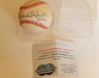 Brooks Robinson Autograph Baseball Hof83  with Certificate of Authenticity/Vintage Baseball
