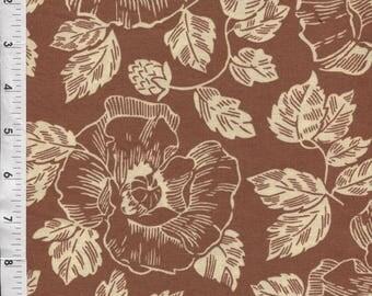 "RJR ""Thimble Berries"" Brown Pressed Flowers Fabric"