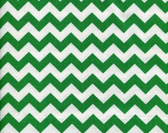 Chevron Zig Zag Christmas Green Fabric