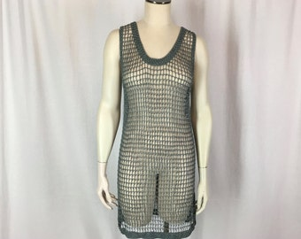 Vintage Sharmark Las Vegas Sz S Beaded Mesh Tunic Top Mini Dress Open Knit Gray Silver Beads 1993 Holiday New Years Stretchy Cher-Inspired