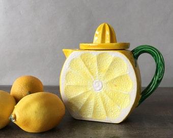 Vintage Lemonade Pitcher, Reamer Pitcher | lemon pitcher, lemon slice, ceramic juice pitcher, summer decor, retro pitcher, yellow kitchen
