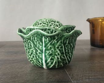 Vintage Secla Portugal Green Cabbage Leaf Bowl with Lid, cabbage ware, individual soup server, secla cabbage green, portuguese ceramic bowl