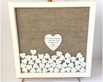 Rustic wedding guest book - Guest book - Wood guest book - Guest book ideas - Drop top guest book - Sign a heart - White guest book - 125