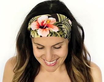 Yoga Headband - Workout Headband - Fitness Headband - Running Headband - Palm Paradise Print - Boho Wide Headband