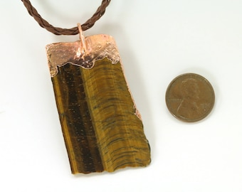 Tiger TIGERS EYE Polished Necklace Pendent -  Mined in South Africa, from the Northern Cape Province Cabochon