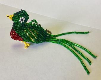 Green Bird Beaded Keychain GA12/keychain/cute keychain/friend gift/party favor/bird keychain/parrot keychain/