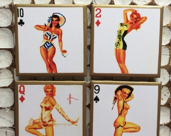 COASTERS!! Retro inspired pinup playing card coasters with gold trim