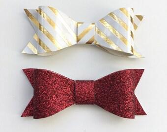 Christmas Hair Bows, Holiday Hair Bows, Red Hair Bows, Gold Hair Bows, Hair Bows