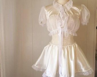 Antoinette Playset- lingerie- victorian- ruffled- bed jacket- skirt