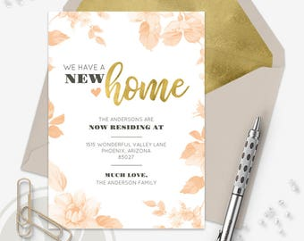 Moving Announcement - Change of Address Card, Instant Download, New Address Announcement, New Home, We've Moved, Floral Announcement