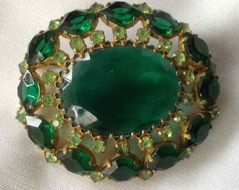 Vintage Schoffel Jewelry Emerald and Peridot Green Rhinestone Brooch - Made in Austria - 1930's to 1960's