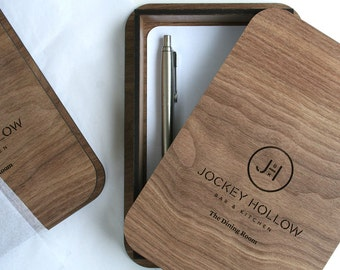 Wood Check / Bill Presenter ; Receipt Tip Box / Tray ; Customize our unique wood bill box & tip holder with your restaurant or cafe logo.