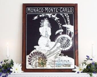 Very Large Mucha Monaco Monte Carlo Mirror Vintage Painted Mirror Decorative Mirror Hall Mirror Mucha Mirror Framed M207