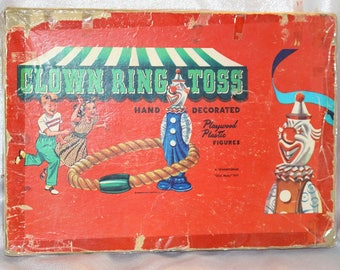 Rare Vintage Clown Ring Toss Game Hand Decorated Playwood Plastic Figures