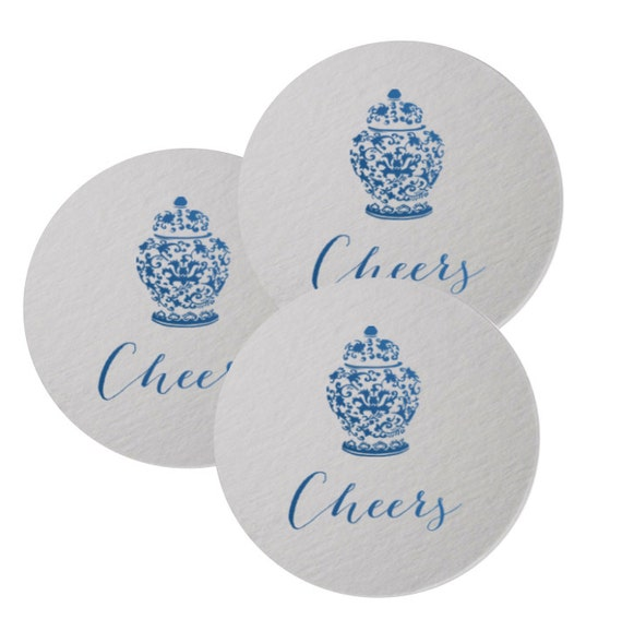 Ginger jar coasters, ginger jar gift, housewarming gift, paper coasters, blue and white ginger jars, foil stamped coaster, cheers coaster