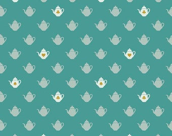 Alice in Wonderland Fabric - Fabric by the Yard - Riley Blake - Modern quilt fabric - Fat Quarter Bundle - Wonderland 2 Tea Pot Teal