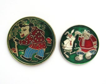 Bear, Bear and Hare, Pick your pin, Animal, Children's badges, Vintage collectible badge, Soviet Vintage Pin, USSR, 1980s