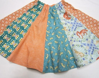 Bunny and Fox Girls Twirly Skirt in Teal and Coral Sizes 2  4  5  6  7  8