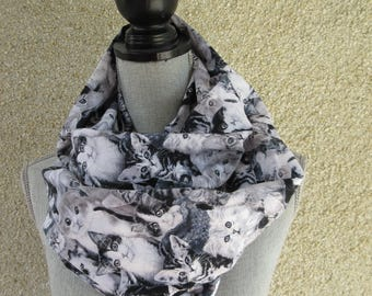 Infinity scarf, Eternity scarf, Circle Scarf, Tube Scarf, Cat Scarf, Cotton Scarf, Feline lovers, Cat lover's scarf, Kittens, Kitten Scarf