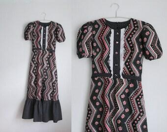 Vintage S/UK8 floral cotton maxi dress