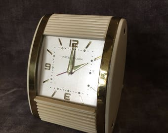 Vintage Art Deco travel alarm clock by westclox made by General time in Hong Kong works!