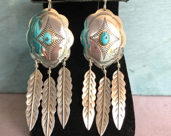 Big Navajo Kingman Turquoise Concho Feathers Sterling Silver Post Hook Hanging Earrings, 9g. Native American Indian Old Dead Pawn Tribal