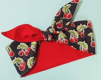 Cherry Polka Dot Rockabilly Headband