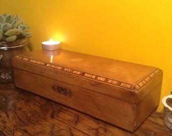 Victorian Antique wooden glove box, wooden box, trinket box, memory box, jewellery box.