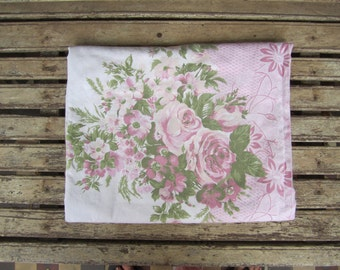 Vintage Pink Floral Sheet - Single Bed -1970's