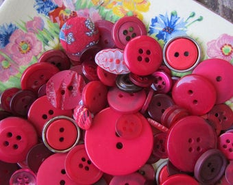 114 Vintage Red Buttons - Mixed Lot