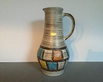 Jasba Keramik  1207 - 25  Vintage Mid Century Modern  1960s ceramic vase  -   West Germany Pottery WGP.