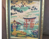 Japanese Lady and Shrine painting Vintage Art paint by number oil painting gold and green wood frame
